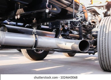 Close up exhaust pipe of truck, shallow depth of field