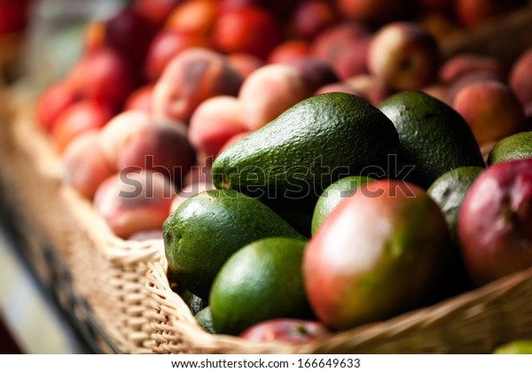 Close up of exotic fruits in the market. Concept of healthy food