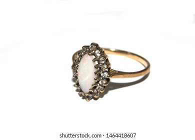 Close Up of a Expensive Diamond Ring On White Background