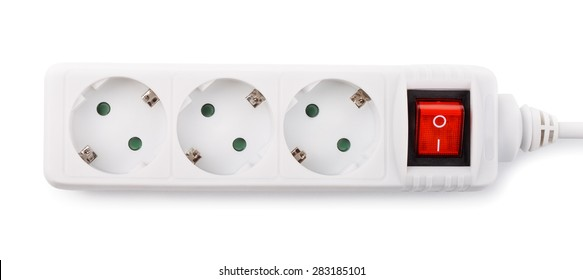 Close up of extension power strip isolated on white