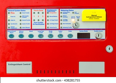 Close up of Extinguishant Control Panel - Fire Alarm Systems - Fire Protection.