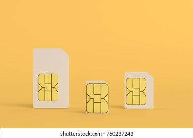 Close up of extract sim card three size on orange background