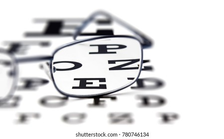 Close up of eye glasses on test chart.Selective focus