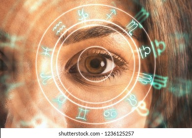 Close up of eye with horoscope wheel. Fortune and abstract concept. Double exposure