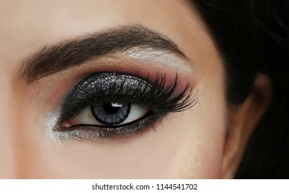 Close up of an eye makeup