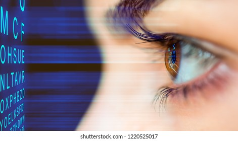 Close up of an eye and vision test