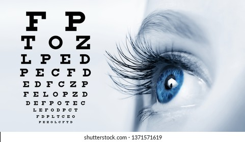 Close up of an eye and vision test chart