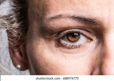 Close up of eye of woman, very dramatic light