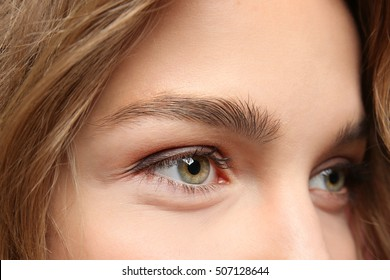 Close up eyes with nude make up