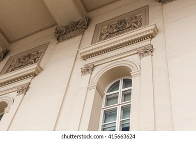 close up facade of Bolshoi Theatre in Moscow, Russia