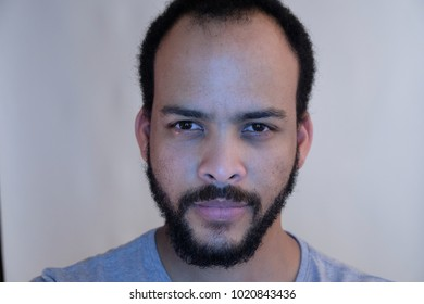 Close up face of bearded man
