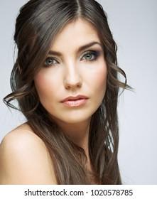 Close up face of beauty woman portrait. Female model studio portrait.