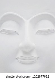 close up face of Bhudda, white beautiful.