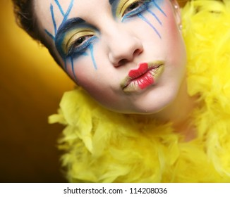 close up of a face of a girl with creative visage