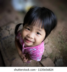 close up face of happy positive smiling  little asian girl
