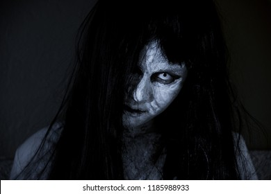 Close up face of horror woman ghost cruel, halloween day concept