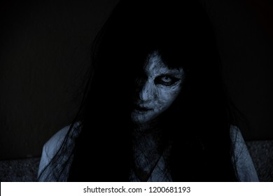 Close Up Face Of Horror Woman Ghost Cruel Halloween Day Concept