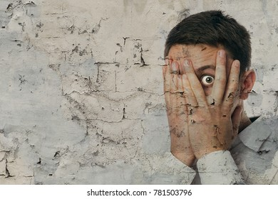 Close up face man portrait with fear emotion