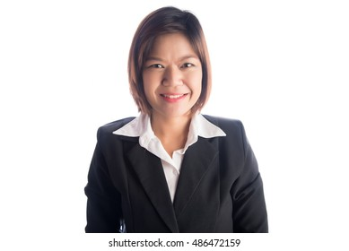 close up face portrait asian business working mom on white background