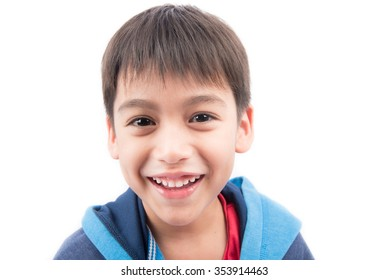 Close up face portrait little boy on white background