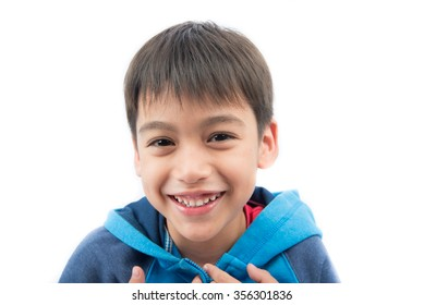 Close up face portrait little boy on white background
