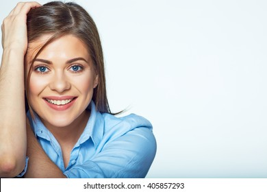Close up face portrait of young business woman. Isolated white background.