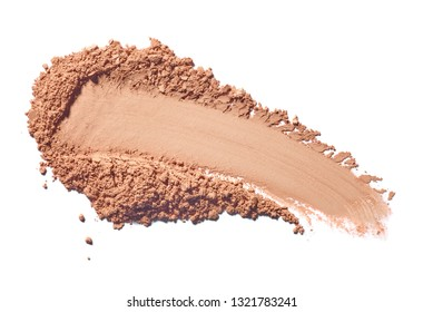 close up of face powder on white background