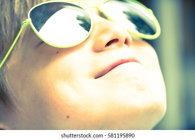 Close Up Face with Smiling Kid Portrait, Happy Boy in Sunglases Enjoying Summer Holidays Closeup, Summer Outdoors, Funny Kid Wearing Sunglasses,  Summer Fun,  Summertime, Summer Fun Kids