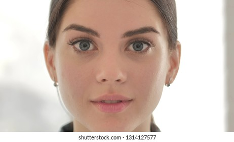 Close Up of Face of Young Girl Wondering in Shock