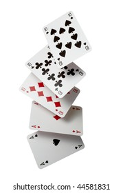 close up of  falling playing cards poker game on white background with clipping path
