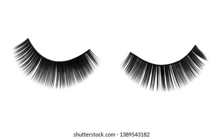close up of false eyelashes on white background