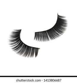 close up of false eyelashes on white background