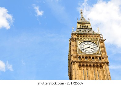 Close up of the famous Big Ben in London, UK against blue sky and copyspace