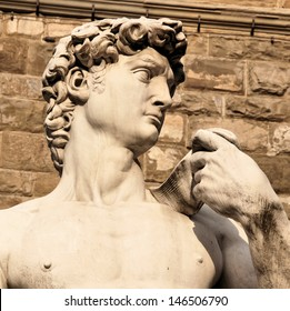 Close up of the famous David statue in Piazza della Signoria, Florence, Italy