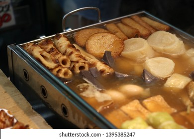 Close up of famous Japanese food - Oden, Osaka, Japan, soft focus