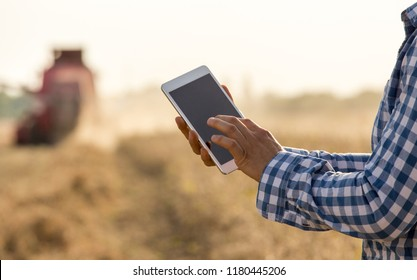 Close up of farmer's hands holding tablet in front of combine harvester in soybean field