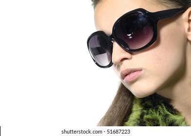 Close up fashion model wearing sunglasses