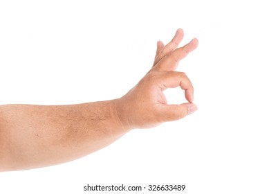 Close up of fat hand do ok sign on white background isolated