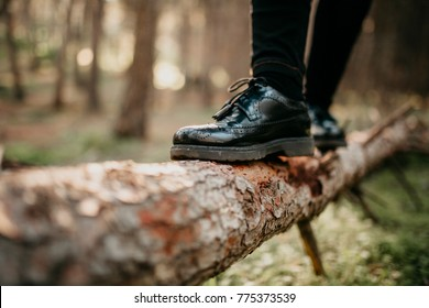 Close up of feet in black shoes walking and balancing on a fallen tree trunk