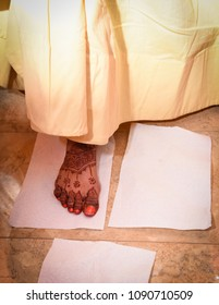 Close Up of Feet with Henna Tattoo