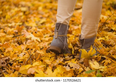 Close up of feet walking in halloween season in the  autumn forest.