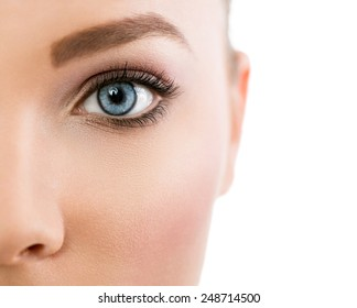 Close up of female beautiful blue eye
