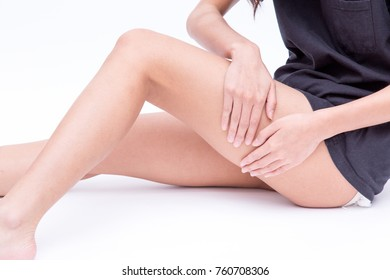 Close up of female Calf or women's Calf leg, get injured or painful and touching her calf on quadriceps and hamstrings muscle area (joint pain or calf muscle pain concept)
