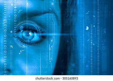 Close up of female digital eye with security scanning concept