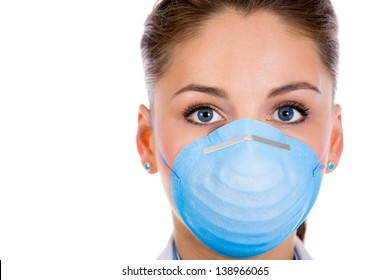 Close up of a female doctor in surgical mask