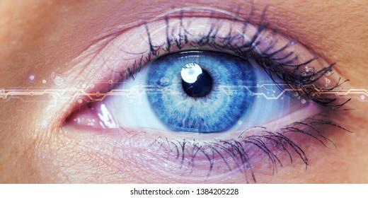Close up of female eye with digital hologram