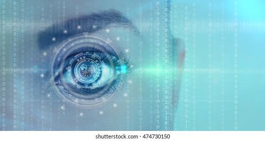 Close up of female futuristic digital eye