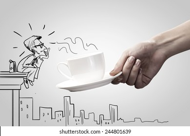 Close up of female hand offering coffee to boss