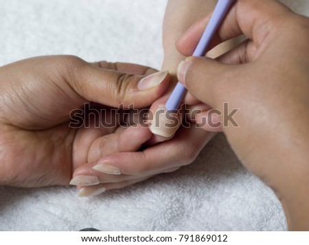 Close Female Hands Doing Manicure Applying Stock Photo (Edit Now ...