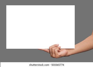 Close up of female hands holding blank advertising card